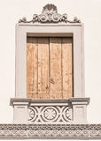 Decorated window of an Italian villa. Royalty Free Stock Photos