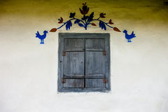 Decorated window of the old traditional Ukrainian house Royalty Free Stock Images