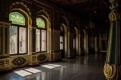 Decorated windows of Mysore Palace with shadows, Mysore, India stock images