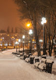 Decorated winter city park Royalty Free Stock Images