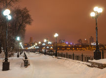 Decorated winter city park Royalty Free Stock Image