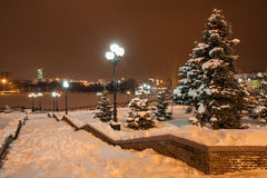 Decorated winter city park Stock Images