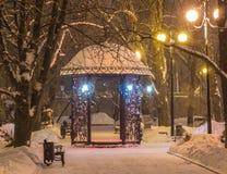 Decorated winter city park Stock Photos