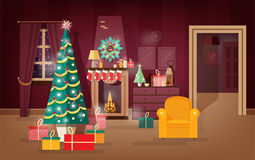 Decorated winter holidays living-room illustrating new year present under christmas tree. Colorful vector illustration. Stock Images
