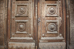 Decorated wood door Stock Image