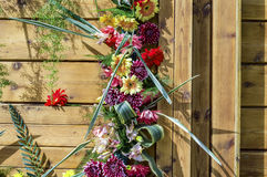 Decorated wood door Royalty Free Stock Photo