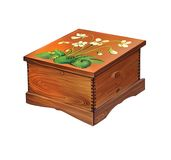 Decorated with flowers wooden box Royalty Free Stock Photo