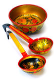 Decorated wooden hand made tableware, Royalty Free Stock Photos