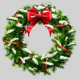 Christmas wreath with red ribbon and snow. Decorated wreath of pine branches after snowfall. Vector image for new years day, christmas, winter holiday Stock Images