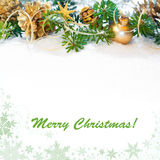 Decorated Xmas tree twigs, space Stock Images