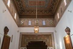 Decoratie in Bahia Palace, Marokko stock foto
