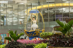Decoratie bij de Internationale Luchthaven van Singapore Changi Stock Fotografie