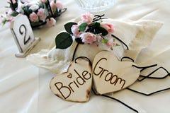 Decoratie bij huwelijksreceptio Stock Afbeeldingen
