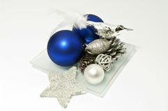 Decoratie in blauw en zilver Stock Foto's
