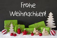 Decoratie, Cement, Sneeuw, de Middelen Vrolijke Kerstmis van Frohe Weihnachten Stock Fotografie