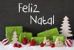 Decoratie, Cement, Sneeuw, Feliz Natal Means Merry Christmas Royalty-vrije Stock Afbeeldingen