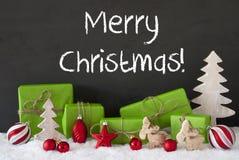 Decoratie, Cement, Sneeuw, Tekst Vrolijke Kerstmis Royalty-vrije Stock Afbeelding