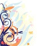 Decoratie met blauwe florals Stock Afbeeldingen