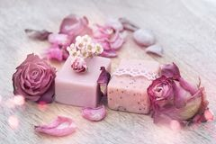 Decoratie met natuurlijke zeep royalty-vrije stock fotografie