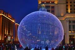 Decoratie in Moskou tijdens Nieuwjaar en Kerstmisvakantie Stock Fotografie