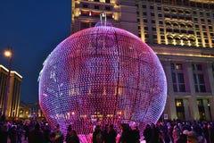 Decoratie in Moskou tijdens Nieuwjaar en Kerstmisvakantie Stock Afbeeldingen
