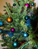 Decoratie op Kerstboom Gelukkige Newyear Concept energie Stock Afbeelding