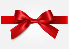 Decoratie red bow with ribbon. Royalty Free Stock Image