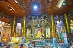 Decoratie van beeldhuis van Sule Paya, Yangon, Myanmar Royalty-vrije Stock Foto's