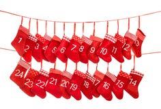 Decoratie van de Kerstmiskous van de komstkalender de Rode stock foto's