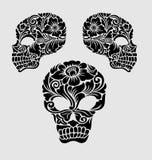 Decoratie van het schedel de Hoofd Bloemenornament Stock Afbeelding
