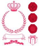 Decoratie van kroon, kroon en zegelwas. Stock Afbeelding