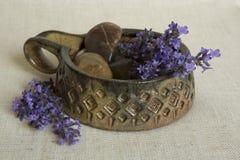 Decoratie van lavendelbloemen Royalty-vrije Stock Afbeeldingen