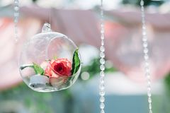 Decoratie voor de mooie ceremonie van het de zomerhuwelijk in openlucht Huwelijksboog die van lichte doek en witte en roze bloeme Stock Foto