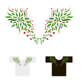 Decoratie voor hals met bladeren en bessenvector i wordt geborduurd die Stock Foto
