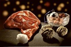 Decoratie voor Nieuwjaarvooravond met noten Royalty-vrije Stock Foto's