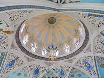 The decoratied ceiling inside the Kol Sharif Mosque in the Kazan Kremlin in the republic Tatarstan in Russia. Stock Photo
