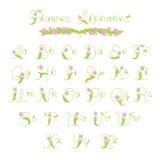 Decoratief bloemalfabet Stock Foto's