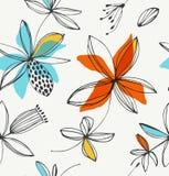 Decoratief bloemen naadloos patroon royalty-vrije illustratie