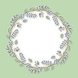 Decoratief bloemenkader met groene bladeren en takken Beeldverhaalhand getrokken elementen voor webpagina's, huwelijksuitnodiging stock illustratie
