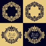 Decoratief bloemenpatroon Gouden bevallig kader Het afgelopen Vector bedrijfsteken, identiteit voor hotel, restaurant, juwelen, m stock illustratie