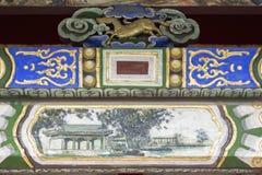 Decoratief detail van de poort in het Museum Bogd K van het de Winterpaleis Royalty-vrije Stock Foto's
