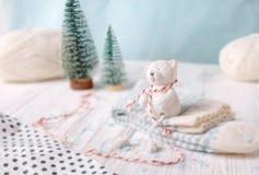 Decoratief draag zit op witte gestreepte sokken Royalty-vrije Stock Afbeeldingen