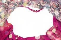 Decoratief draperend kader van de textiel Het roze van de vrouwen` s sjaal stelt de Britse vlag voor Royalty-vrije Stock Foto's
