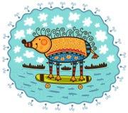 Decoratief egel en skateboard Royalty-vrije Stock Foto