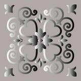 Decoratief element, abstract beeld van een zilverachtige bloem, achtergrond voor ontwerp royalty-vrije illustratie