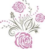 Decoratief element met purpere gestileerde rozen Stock Afbeeldingen