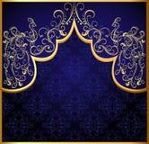 Decoratief frame als achtergrond met gouden (Engelse) pauw Stock Afbeelding