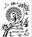 Decoratief, gestileerd modern beeld van een pauw op de takken, Royalty-vrije Stock Fotografie