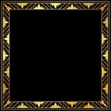 Decoratief gouden kader op een zwarte achtergrond Stock Fotografie