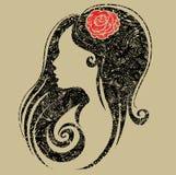 Decoratief grungeportret van vrouw met bloem Royalty-vrije Stock Afbeelding